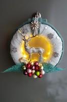 Ünnepi ajtódísz, karácsonyi kopogtató led világítással ! Extra egyedi !