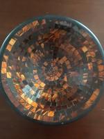 Mozaikos kézműves tál gyümölcstartó kínáló dísztál