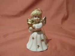 Fehér ruhás angyalka csengő, angyal, karácsonyfa dísz
