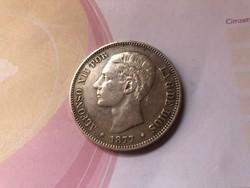 1877 Spanyol ezüst 5 peseta gyönyörű darab 25 gramm 0,900