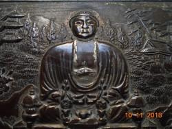 Antik,meditáló Buddhával,pagodás tájjal,bambusszal,FOREIGN jelzés,japán dombor ezüstözött fém doboz