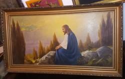 Óriásu festmény, 120x60 + gyönyörű, hiánytalan antik keret!