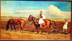 Juszkó Béla (1877 - 1969) - Óriási Lovas csikós olajfestmény 125x70cm