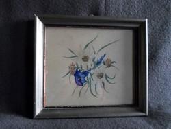 Régi jelzett akvarell virág csendélet enciánnal