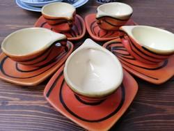 Tófej retro kerámia kávés készlet 5db csésze tálkával narancssárga fekete csíkos