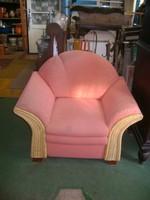 Masszív legyező fotel - fa vázon plüss és fonott borítás