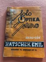Hatschek Emil fotó és optikai árjegyzéke 1940-ből