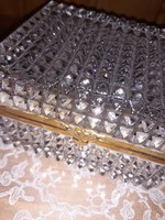 Szecessziós,rézszerelékes üveg doboz