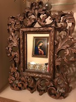 Florentin faragott keret tükörrel gyönyörűen kidolgozva