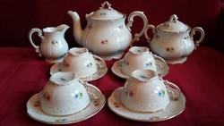 Zsolnay apróvirágos aranyozott barokk teás készlet - RITKA !