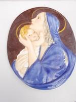 Porcelán fali dísz Mária gyermekével nagyméretű