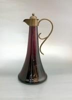 Szecessziós lila karaffa réz szerelékkel, üveg kintő, likőrös