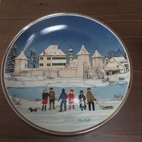Régi Petra Moll kézzel festett porcelán falitányér