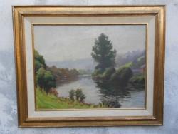 Folyópart.J.Vanneste  eredeti alkotása.Jegyzett művész.Hibátlan festmény.