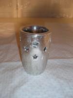 Kerámia - gyertyatartó - mécsestartó - vastag - ezüstözött -  12 x 8 cm - hibátlan