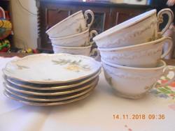 Zsolnay barokk, tollazott sárga rózsás teás csészék és kistányérok 6 db Ritka