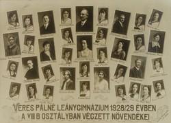 0T999 Régi iskolai fotográfia tablókép 1929