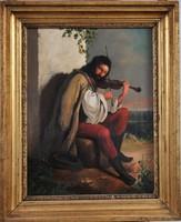 Török Ede (1836-1892): Muzsikus cigány portré