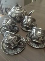 Gyönyörű régi kínai teás készlet, egyik csésze hibás