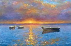 Simon Zoltán festmény - Naplemente - olaj, kasírozott vászon