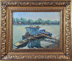 Perlmutter Izsák (1866-1932): Halászbárka a folyón