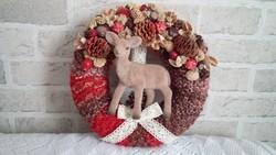 Őzikés ajtódísz, karácsonyi, mesés dekoráció