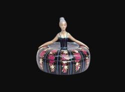 Art deco porcelán balerina  doboz ROBj Paris1929