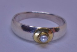 Szép régi valódi gyöngyös ezüst gyűrű