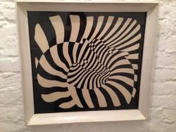 Retro Victor Vasarely szitanyomat keretben. ZEBRÁK.