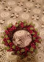 Ajtóra, asztalra karácsonyi bogyós dekoráció koszorú