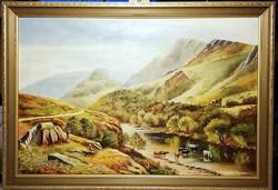 MARHA GULYA A PATAKBAN ( 84 x 58 ) - Jelzett, jelenetes tájkép, csodálatos