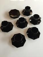 6db fekete kávés csésze + 11db tányér Francia, modern