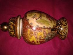 Antik keleti váza, japán vagy kínai gyömbértartó porcelán, tea tartó edény satsuma mintával