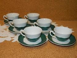 Zsolnay zöld Pompadur 6 személyes kávés készlet.
