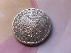 1900 ezüst Porosz 5 márka 27,7 gramm 0,900 Ritkább,gyönyörű