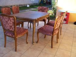 Neobarokk étkezőasztal 6db székkel