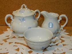 Zsolnay kék virágos kiöntő,cukortartó és csésze.