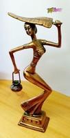 Hölgy pálmafa levéllel, Kínai vörös-bronz szobor, selyem bélésű díszcsomagolásban.