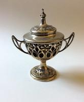 Különleges antik ezüstözött serleg, fedővel