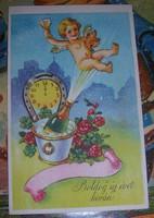 Régi képeslap újévi  postatiszta üdvözlőlap