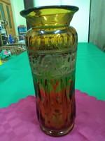 Moser borostyán színű váza sérült.
