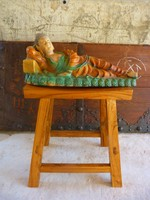 Nagyméretű 3 mázas kerámia fekvő Buddha, kínai, keleti, ázsiai