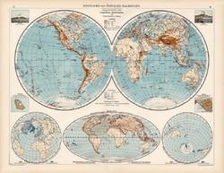 Világtérkép 1912, német nyelvű, atlasz, 44 x 56 cm, térkép, Nyugati - és Keleti - félgömb, Vezúv