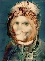 Szász Endre (1926-2003) Kalapos portré 50x40 Garantáltan eredeti Olaj Papírlemez