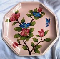 Tiffany kerámia tál, jelzett 25,5 x 25,5 cm