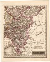 Délkeleti Német államok térkép 1840, német nyelvű, atlasz, eredeti, Pesth, 23 x 29 cm, magyar kiadás