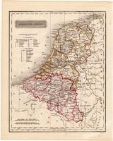 Hollandia és Belgium térkép 1840, német nyelvű, atlasz, eredeti, Pesth, 23 x 29 cm, magyar kiadás