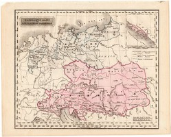 Ausztria és Poroszország térkép 1840, német nyelvű, atlasz, eredeti, Pesth, 23x29 cm, magyar kiadás