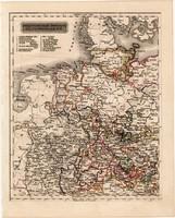 Északnyugati Német államok térkép 1840, német nyelvű, atlasz, eredeti, Pesth, 23 x 29 cm, magyar