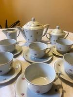 Antik Zsolnay 6 személyes aranyozott manófüles teás készlet az 1930 -as évekből